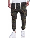 New Stylish Army Green Camo Print Drawstring Waist Skinny Fit Cargo Pants Pencil Pants
