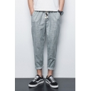 Guys Retro Simple Plain Drawstring Waist Comfort Linen Rolled Cuff Loose Fit Harem Pants