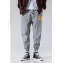 Mens Simple Letter Patched Drawstring-Waist Elastic Cuff Casual Loose Track Pants