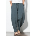 Summer Chinese Style Drawstring-Waist Simple Plain Casual Loose Cotton Beach Wide-Leg Pants