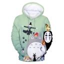 Totoro 3D Comic Cat Printed Sport Casual Long Sleeve Pullover Drawstring Hoodie