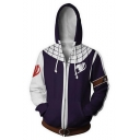 3D Print Comic Cosplay Costume Long Sleeve Purple Zip Up Hoodie