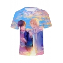 3D Comic Character Printed Short Sleeve Relaxed Casual T-Shirt
