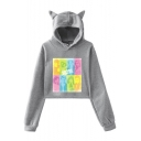 Beverly Hills 90210 Luke Perry Womens Casual Loose Cat Ear Long Sleeve Cropped Hoodie