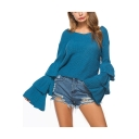 Casual Ruffle Layered Long Sleeve V-Neck Pullover Loose Cropped Sweater