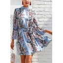 Spring New Arrival Fashion Floral Printed Backless Bow-Tied Back Long Sleeve Mini A-Line Dress