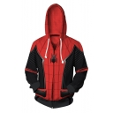 3D Printed Cosplay Costume Full-Zip Long Sleeve Red Sport Hoodie