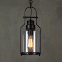 Lantern Hanging Light with Clear Glass Shade Country Style Single Pendant Light in Black