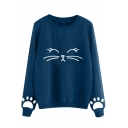 Cartoon Cat Pattern Loose Casual Long Sleeve Round Neck Pullover Sweatshirt