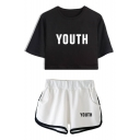 Fashion Letter YOUTH Print Cropped T-Shirt Sports Elastic Waist Shorts Co-ords