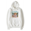 LIFE IS GREAT Noodle Boy Print Retro Style Casual Loose Relaxed Unisex Hoodie