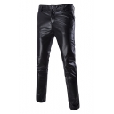 Men's Sexy Night Club Metallic Color Cool Slim Fit PU Pants