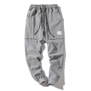 Men's New Trendy Simple Plain Drawstring-Waist Comfortable Linen Casual Tapered Pants