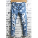 Light Blue Mens Solid Color Stylish Ripped Straight Leg Relaxed Fit Jeans with Holes