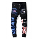 Men's Street Fashion Cool Letter Flag Printed Black Relaxed Fit Jeans