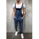 Mens Cool Casual Washed-Denim Fashion Ripped Destroyed Slim Fit Overall Jeans