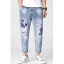 New Stylish Light Blue Embroidery Casual Loose Fit Tapered Ripped Jeans