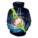 Unique Awesome Hand Whirlpool Galaxy 3D Print Blue Pullover Hoodie