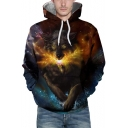 Galaxy Wolf 3D Printed Mens Casual Loose Pullover Drawstring Hoodie