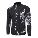 Fashion Casual Floral Pattern Long Sleeve Stand Collar Zip Up Baseball Jacket