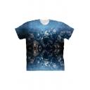 Horrible Piranha Fish 3D Print Basic Short Sleeve Blue T-Shirt