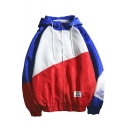 Fashion Color Block Long Sleeves Elastic Cuffs Letter Pattern Zip Placket Drawstring Hooded Track Jacket