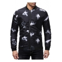 Fashion Stand Collar Long Sleeve Black Casual Print Zip Up Slim Jacket for Men