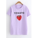 Funny Letter TOMATO Strawberry Printed Round Neck Short Sleeve Casual Tee