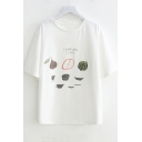 Summer Letter Fruits Printed Round Neck Short Sleeve White Cotton T-Shirt