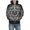 Cool Esoteric Geometric 3D Printing Long Sleeve Unisex Black Casual Hoodie