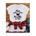 When In Doubt Throttle It Out Fashion Street Letter Print Unisex Casual White Tee