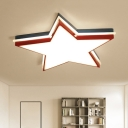 Blue and Red Star Flush Light Acrylic Lampshade LED Ceiling Fixture for Boys Girls Bedroom