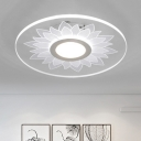 Acrylic Disc Shade Flush Light with Flower Restaurant Bedroom Decorative LED Ceiling Lamp in White