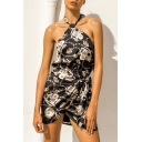 Summer Retro Fashion Printed Halter Neck Backless Knotted Side Mini Sheath Dress