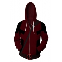 3D Printed Long Sleeve Sport Casual Full Zip Red Drawstring Hoodie