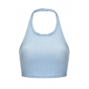 Summer Simple Plain Halter Neck Backless Bow-Tied Back Light Blue Cropped Tank Top