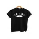 Lovely Totoro Printed Basic Short Sleeve Round Neck Black T-Shirt