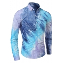 Unique Cool Three-Color Tie Dye Printed Men's Long Sleeve Button-Down Fitted Shirt