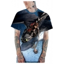 How to Train Your Dragon 3D Cool Printed Short Sleeve Loose Blue T-Shirt
