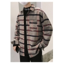 Guys New Trendy Striped Printed One Pocket Patched Chest Comfort Cotton Casual Over Shirt