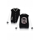 New Stylish Sequined Smile Face Stand-Collar Button Down Colorblock Baseball Jacket