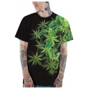 Fashion 3D Green Smoke Weed Printed Round Neck Short Sleeve Black Loose T-Shirt