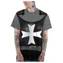 New Arrival Stylish 3D Pattern Basic Short Sleeve Black Casual T-Shirt