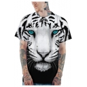 Cool 3D Tiger Pattern Basic Crewneck Short Sleeve Black and White T-Shirt