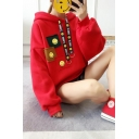 Fancy Red Smile Face Pattern Drawstring Hood Long Sleeves Pullover Hoodie