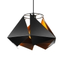 Industrial Pendant Light with 15''W Sheet Iron Shade, Black/White