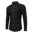 Unique Tipped Collar Long Sleeve Basic Simple Plain Mens Fitted Button-Up Formal Shirt