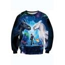 Cool 3D Figure Printed Long Sleeve Round Neck Blue Sweatshirt