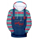 Good Guys Chucky Cute 3D Overall Printed Long Sleeve Blue Drawstring Hoodie