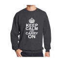 Fashion Crown Letter KEEP CALM AND CARRY ON Print Crewneck Long Sleeve Casual Sweatshirt